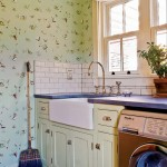 The laundry room is equipped with a deep farmhouse sink.