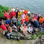 Volunteers pose for a group portrait during last year's Clingstone work weekend.