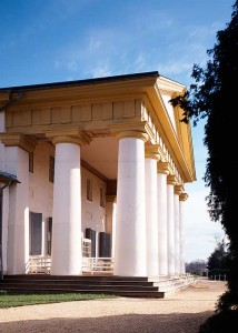 The Custis-Lee Mansion overlooks Arlington National Cemetary and Washington from these massive Doric-order columns. Designed by George Hadfield in 1818, it is an early example of the Greek Revival style soon to spread to columns across the nation. (Photo: Jack E. Boucher)