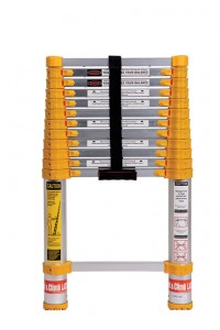 Telescoping ladders fold into a compact package when not in use, but unfurl to a standard height.