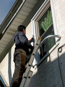 Accessories like stand-offs are an easy way to prop ladders away from the house to work on windows or gutters.