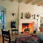 The plaster fireplace sets a dramatic stage in the living room.