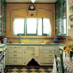 Green and cream tiles laid on the diagonal jazz up a Depression-era Tudor kitchen.