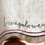 The bathroom's linen curtain was embroidered by Jan's grandmother in the 1930s.