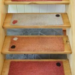 Open-riser stairs are carpeted with 'Alto Steps', an Alvar Alto-inspired, woven wool carpet by artisan Liza Phillips.