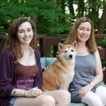 Christine and daughter Kati on the south deck with Ginger, a Japanese Shiba Inu.