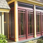 This three-season, Prairie-style porch from Touchstone Woodworks is made from mahogany panels.