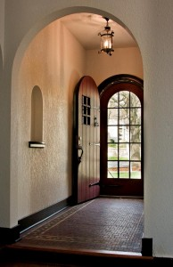 The time-worn front door, a distinctive detail, was completely rehabilitated.