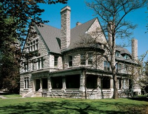 In the Richardsonian Romanesque style, the Wilson Soule House is constructed of Indiana limestone and boasts a total of 35 rooms.