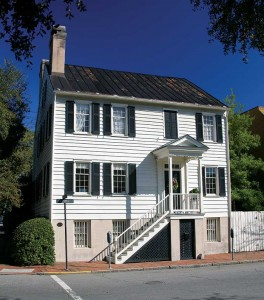One of the best Federal frame houses, raised on a full basement, is the circa-1820 Francis Stone House. The staircase and entry porch show a main living floor on the upper level.