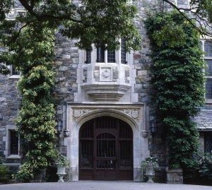 Climbing hydrangea and its cousin Schizophragma soften the stone façade of Skylands Manor at the New Jersey Botanical Garden.