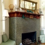Brick fireplaces were sponge-painted in marble colors.