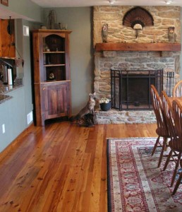 Reclaimed yellow pine from Authentic Wood Floors.