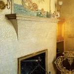 A mosaic tile painting in a gilded bathroom decorated by the famed Victorian-era Herter Brothers.