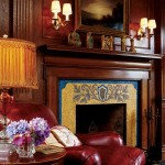 Mosaics, too, can be used to create an overall design, as on this fireplace surround.