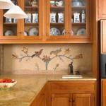 A mosaic backsplash done in the manner of early American stencil designs.
