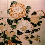 """Tile """"mural"""" from Designs in Tile depicting hand-painted chrysanthemums."""