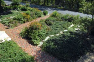 The new plan for the front yard flanks the brick walkway with a thick and constantly changing flower border.