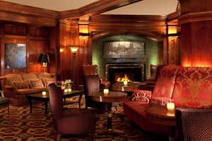 A Rookwood tile fireplace is the centerpiece of the Sorrento Hotel's lobby.