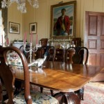 Heart pine paneling in the dining room has been painted since the 18th century, a common practice for wood then considered plain.