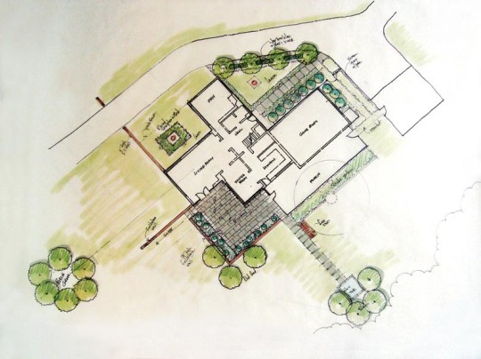 The finished design by Michael Wasser incorporates many elements from the students' plans.
