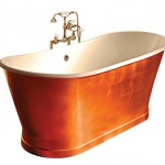 For an eye-catching focal point that embraces one of the era's signature materials, you can't beat a copper bathtub. But because it's a premium material, a copper tub can threaten to blow your whole bathroom budget. This version wraps a copper-coated steel skirt around a cast-iron tub to create a bold statement that's a little bit easier on the wallet. Piedmont copper bathtub, Sunrise Specialty.