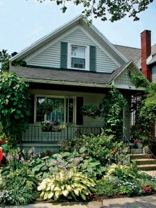 In Buffalo, New York, a narrow yard is filled to the brim with shade-loving hostas—a perennial that's lush whether it's in bloom or not.