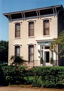 Compared with many houses of the period, this one in Dowagiac, Michigan, is rather plain, yet its projecting cornice marks it as Italianate.
