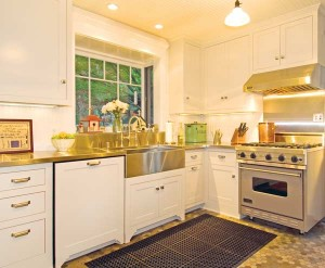 "In a Pasadena bungalow, the re-creation of a 1920s ""service"" kitchen with painted cabinets cost about $39,000. Photo: Chris Considine."