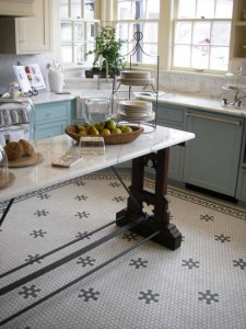 Hexagon-shaped tiles have become a classic, suitable for houses from Colonial Revival to Victorian. These are from American Restoration Tile.