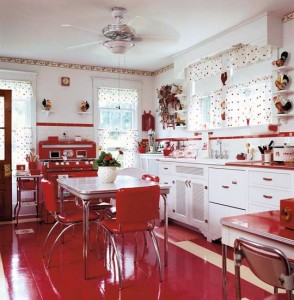 Real linoleum is Forbo's Marmoleum 'Bleeker Street' sheet flooring in red. Photo courtesy of Gross & Daley.