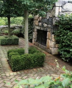 Sandoval also built this massive stone fireplace for an outdoor terrace.