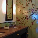 The striking master bath upstairs was part of the project.