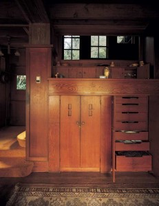 Trained in cabinetmaking, architect Bernard Maybeck backed the staircase at Grayoaks (1906) in Ross, California, with a sublime dining-room built-in. (Photo: Bret Morgan)