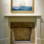 Lacking evidence of its original appearance, the team placed a simple mantel on the main hall fireplace.