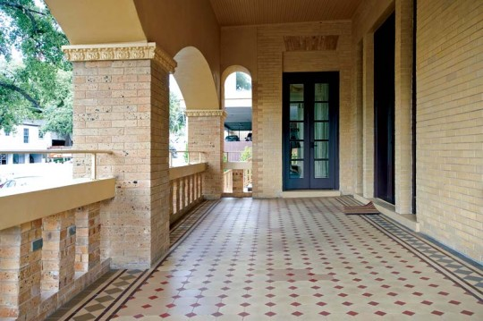 """Victorian geometric tiles on the front porch were unearthed beneath 4"""" of concrete—they remained virtually unscathed."""