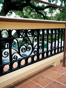 The railing's scrolls were re-created with the help of intricate tracings.