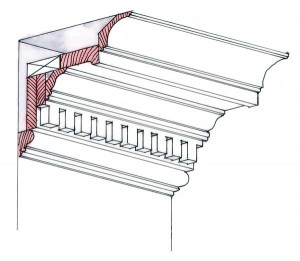 Large built-up moldings such as this cornice are composed of smaller, single moldings nail one to the next. They'll be easier to dismantle if you score the joints between them. (Illustration: Rob Leanna)