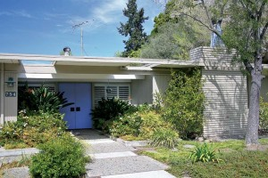"""Channing Park in Palo Alto features """"flat tops"""" with recessed double doors sheltered by a partially open roof area that provides ample light."""