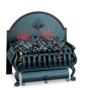 A plug-in coal basket from Burley throws 5,000 BTUs of heat.