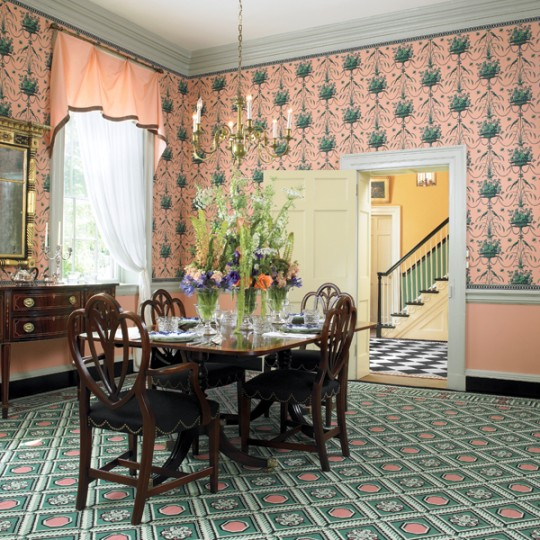 Hung over a painted dado, 'Parakeet and Pearls' hand-block-printed paper was made by Adelphi Paper Hangings for an 1803 Federal house. Photo: Gridley+Graves