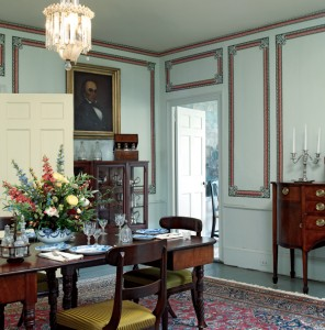 "Paper borders were used to ""panelize"" walls, a popular treatment in the 1840s, in this historic dining room. Photo: Greg Premru"