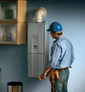 Today's smaller systems, like Rinnai's tankless water heater, take up much less room than their predecessors.