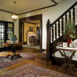 The woodwork in the stair hall exemplifies the prevailing character of the original design.
