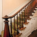 The stairs' newel post and turned balusters display transitional Federal-Greek Revival styling.