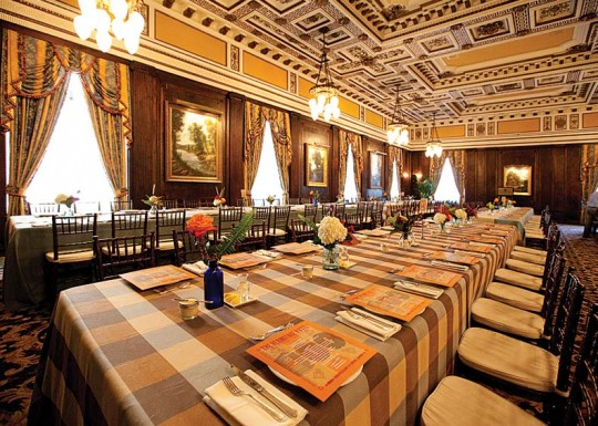 The Circassian walnut paneling in the grand ballroom is original; it was meticulously restored.