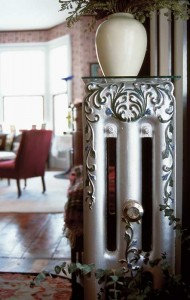 "Inspired to highlight the fancy filigree of the radiator in colored paint by an article in OHJ, Harriet explains, ""This is a small example of what I love about old homes. The decorative details are incorporated into even the most prosaic and functional parts of the house."""