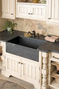 The sink shows soapstone in its natural color: grey or greenish-grey, although some foreign soapstone is dark red or green. (Courtesy: Green Mountain Soapstone Corp.)