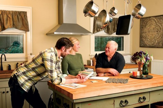 Mark Mushinskiy helped draft the couple's kitchen ideas, while carpenter Mykola Rudyy executed the plans, blending new cabinets with the old.