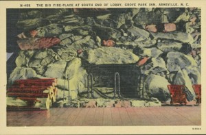 A vintage postcard depicts one of the Grove Park Inn's massive stone fireplaces.